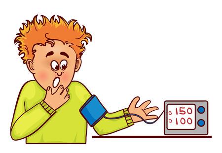 Illustration pour Vector image of ill little cartoon man with complaints about high blood pressure, he measures it with tonometer - image libre de droit