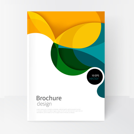 Illustrazione per vector white business brochure cover template.modern abstract background green, yellow and blue waves - Immagini Royalty Free