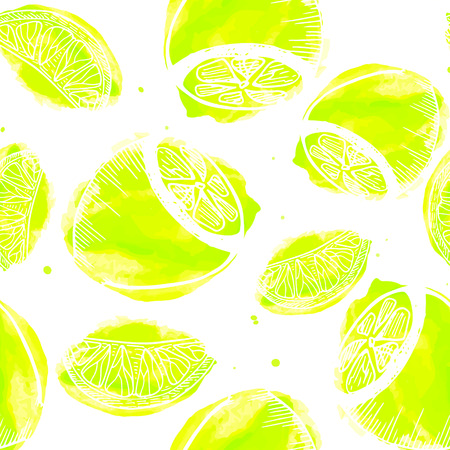 Illustration for Juicy lemon seamless pattern. HAnd drawn texture with lemons - Royalty Free Image