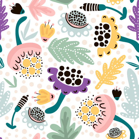 Illustration for Seamless hand drawn floral pattern in pink, mint,black colors. Great for fabric and textile. Vector Illustration - Royalty Free Image