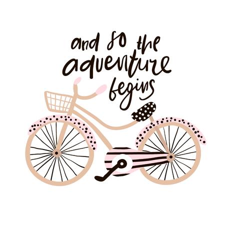 Ilustración de And so the adventure begins hand drawn phrase. Creative illustration with stylish bicycle and lettering - Imagen libre de derechos