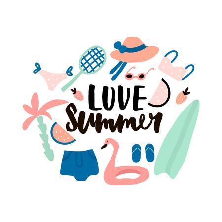 Illustration for Love summer. Hand lettering quote made with brush. Illustration with summer elements. Hat,bikini,sunglasses,palm,surf,racket,swimming ring,watermelon,shirts. - Royalty Free Image