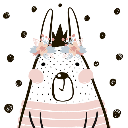 Illustration pour Cute cartoon rabbit girl with crown in scandinavian style. Childish print for nursery, kids apparel,poster, postcard. Vector Illustration - image libre de droit