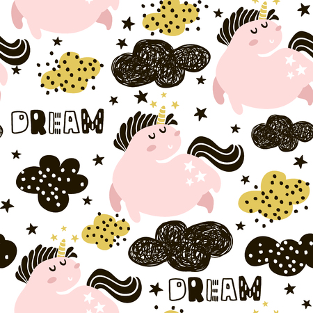 Illustration for Cute seamless pattern with fairy unicorns and clouds. Childish texture for fabric, textile. Scandinavian style. Vector Illustration - Royalty Free Image