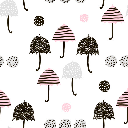 Illustration for Seamless pattern with hand drawn colorful umbrellas. Childish texture. Great for fabric, textile Vector Illustration - Royalty Free Image