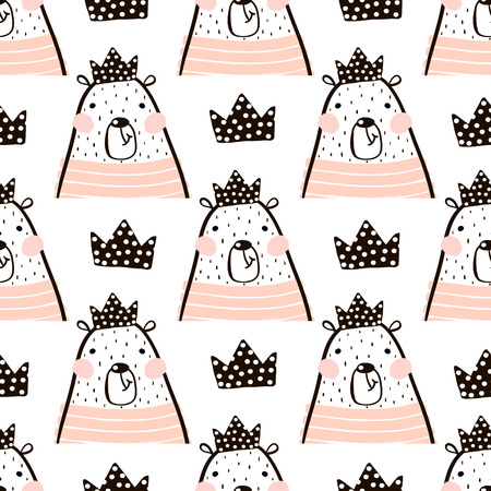 Illustration pour Seamless pattern with cute girl bear bears princess . Perfect for fabric,textile.Vector background - image libre de droit