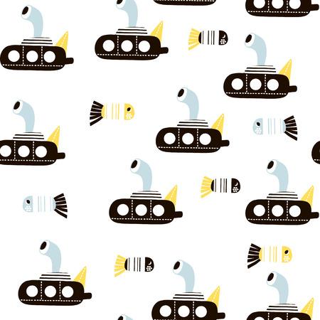 Ilustración de Seamless pattern with cartoon submarine and fishes . Childish texture for fabric, textile. Vector background - Imagen libre de derechos