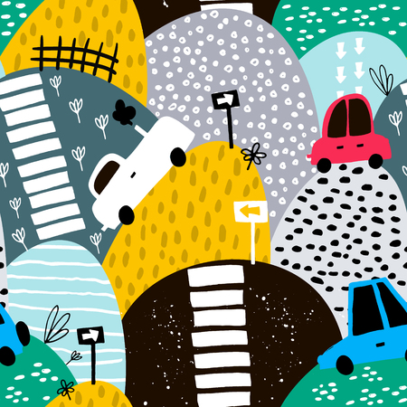 Ilustración de Seamless pattern with hand drawn cute car and hills. Cartoon cars, road sign, zebra crossing vector illustration. Perfect for kids fabric,textile,nursery wallpaper - Imagen libre de derechos