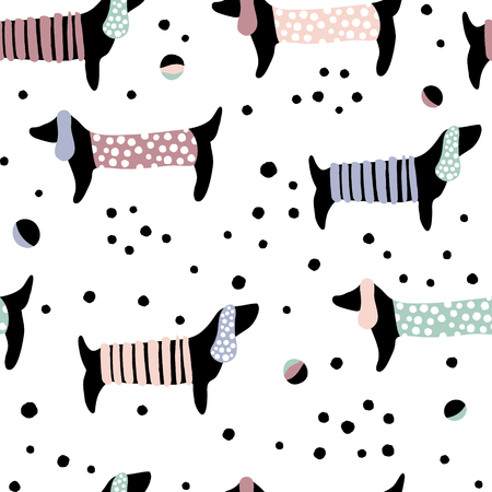 Illustration for Seamless pattern with dachshunds and hand drawn elements. Childish texture. Great for fabric, textile Vector Illustration - Royalty Free Image