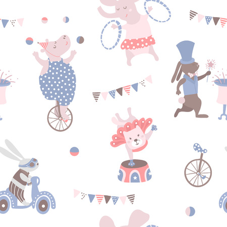 Illustration for Seamless pattern with animal artists. Circus vector childish background. - Royalty Free Image