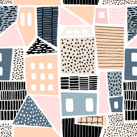Ilustración de Abstract seamless pattern with houses with hand drawn textures and shapes. Perfect for fabric.textile,wallpaper. Vector Illustration - Imagen libre de derechos