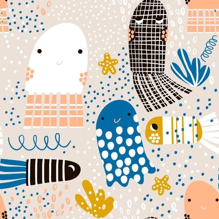 Ilustración de Seamless pattern with sea animal jelly fish, fish. Undersea Childish texture for fabric, textile. Vector background - Imagen libre de derechos