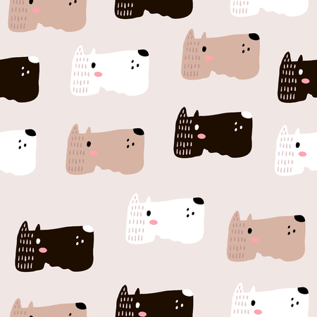 Illustration pour Seamless childish pattern with dog animal faces. Creative nursery background. Perfect for kids design, fabric, wrapping, wallpaper, textile, apparel - image libre de droit