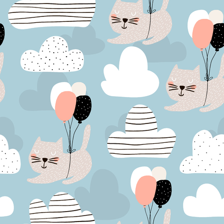 Illustration for Seamless childish pattern with cute cats flying with balloon. Creative nursery background. Perfect for kids design, fabric, wrapping, wallpaper, textile, apparel - Royalty Free Image