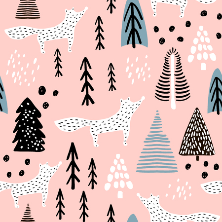 Illustration for Seamless winter pattern with fox, tree, and ink drawn elements. Creative christmas background. Vector Illustration - Royalty Free Image