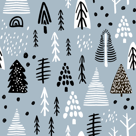 Illustration for Seamless pattern with winter wood, trees, and ink drawn elements. Creative christmas background. Vector Illustration - Royalty Free Image