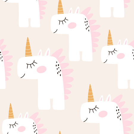 Illustration for Cute seamless pattern with fairy unicorns. Childish texture for fabric, textile. Scandinavian style. Vector Illustration - Royalty Free Image