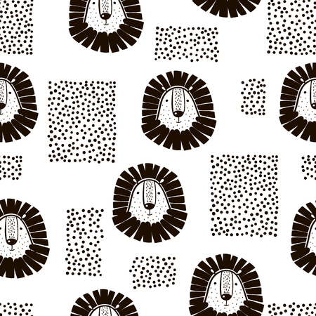 Illustration for Lion drawing pattern. - Royalty Free Image