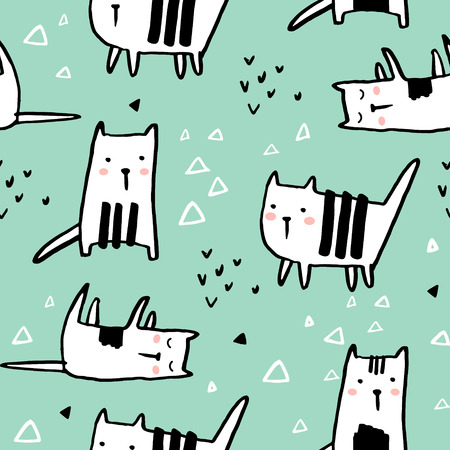 Illustration for Cute hand drawn kitten pattern. - Royalty Free Image