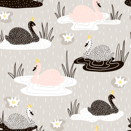Illustration for Cute hand drawn swan pattern. - Royalty Free Image