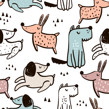 Illustration pour Childish seamless pattern with hand drawn dogs. Trendy Scandinavian vector background. Perfect for kids apparel, fabric, textile, nursery decoration, wrapping paper. - image libre de droit