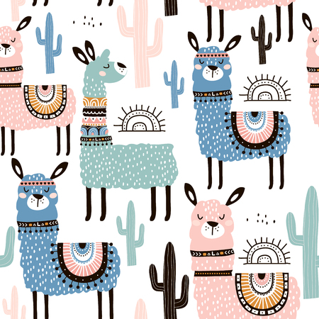 Illustration for Seamless pattern with llama, cactus and hand drawn elements. Creative childish texture. Great for fabric, textile. - Royalty Free Image