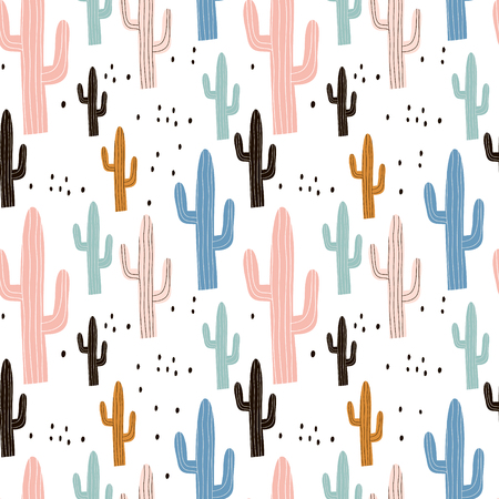 Illustration pour Seamless pattern with cactus and hand drawn textures. Perfect for fabric, textile. Vector pastel background. - image libre de droit
