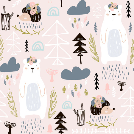Illustration pour Seamless pattern with bear, floral elements, branches, hedgehog. Creative forest height detailed background. Perfect for kids apparel, fabric, textile, nursery decoration, wrapping paper. - image libre de droit