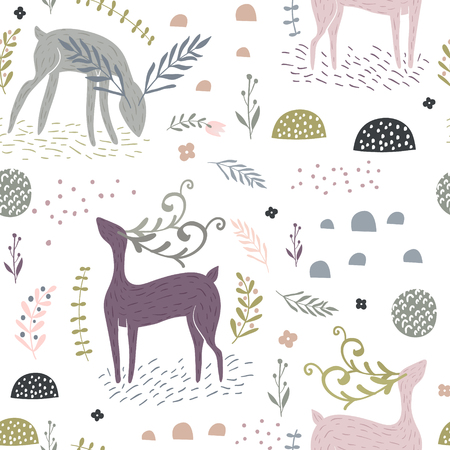 Ilustración de Seamless pattern with deer, floral elements, branches. Creative woodland background. Perfect for kids apparel, fabric, textile, nursery decoration, wrapping paper. - Imagen libre de derechos