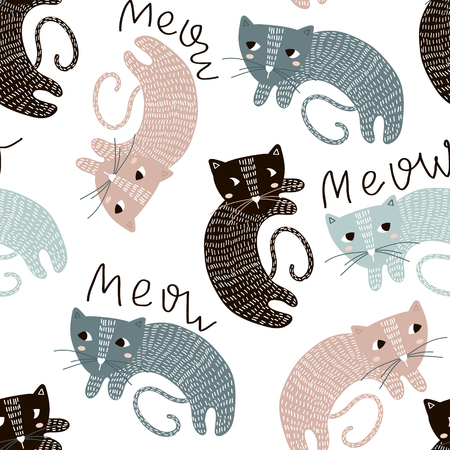 Illustration pour Childish seamless pattern with cute artistic cats. Trendy Scandinavian vector background. Perfect for kids apparel, fabric, textile, nursery decoration, wrapping paper. - image libre de droit