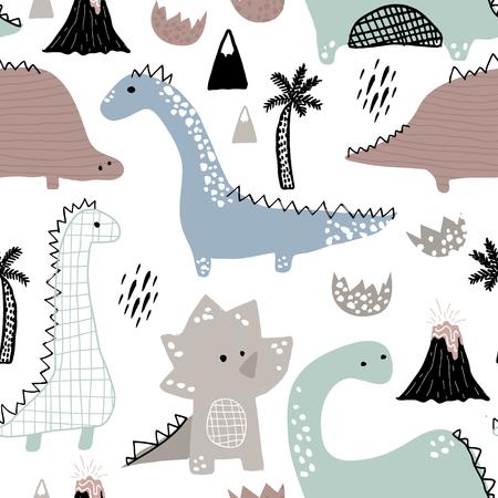 Ilustración de Childish seamless pattern with hand drawn dinosaur in Scandinavian style. Creative vector childish background for fabric, textile. - Imagen libre de derechos
