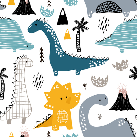 Illustration for Childish seamless pattern with hand drawn dinosaur in Scandinavian style. Creative vector childish background for fabric, textile. - Royalty Free Image