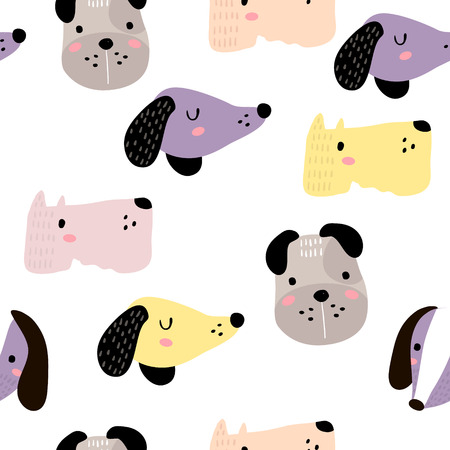 Illustration pour Seamless childish pattern with dog animal faces. Creative nursery background. Perfect for kids design, fabric, wrapping, wallpaper, textile, apparel. - image libre de droit