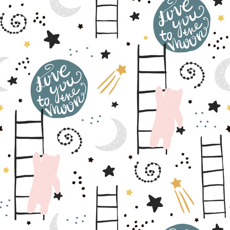 Illustrazione per Seamless childish pattern with bears, stars and moon. Creative kids texture for fabric, wrapping, textile, wallpaper, apparel. Vector illustration - Immagini Royalty Free