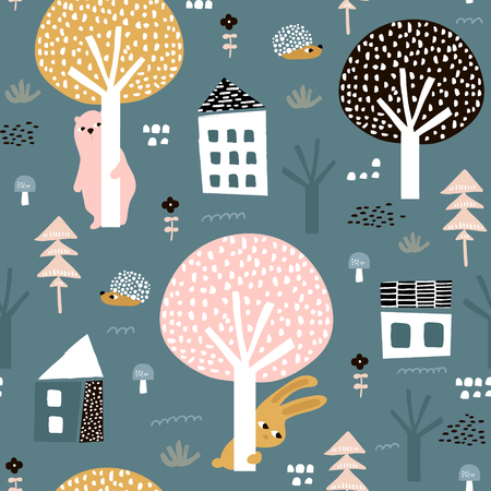 Illustration pour Seamless pattern with bunny, bear, hedgehog and floral elements, branches. Creative woodland background. - image libre de droit