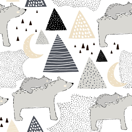 Ilustración de Seamless childish pattern with polar bear mom and baby. Creative kids design. Perfect for fabric, textile, warpping, nursery.Vector Illustration - Imagen libre de derechos