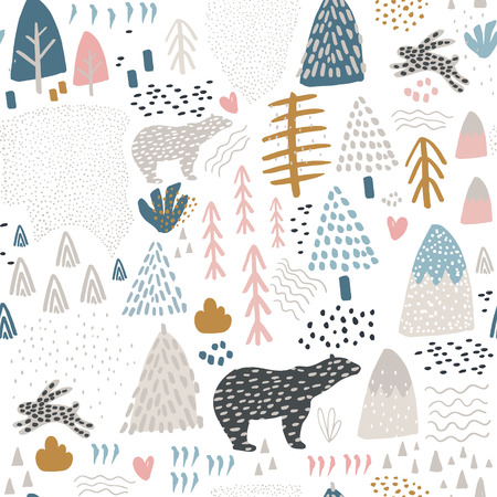 Illustration pour Seamless pattern with bunny,polar bear, forest elements and hand drawn shapes. Childish texture. Great for fabric, textile Vector Illustration - image libre de droit