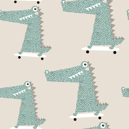 Illustration pour Seamless pattern with crocodile on skateboard. Creative bay animals background. Perfect for kids apparel,fabric, textile, nursery decoration,wrapping paper.Vector Illustration - image libre de droit