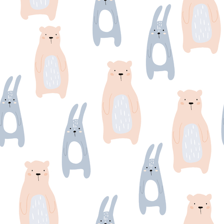 Illustration pour Seamless childish pattern with cute bear and bunny. Creative kids design. Perfect for fabric, textile, wrapping, nursery.Vector Illustration - image libre de droit