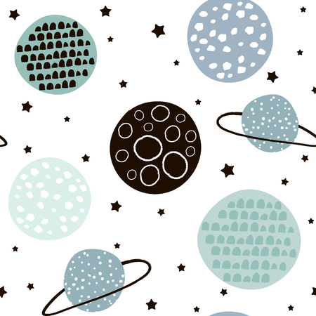 Ilustración de Seamless pattern with stars, constellations, planets and hand drawn elements. Childish texture. Great for fabric, textile Vector Illustration - Imagen libre de derechos
