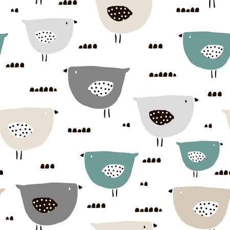 Ilustración de Seamless pattern with hand drawn tiny birds. Trendy scandinavian vector background. Perfect for kids apparel,fabric, textile, nursery decoration,wrapping paper - Imagen libre de derechos