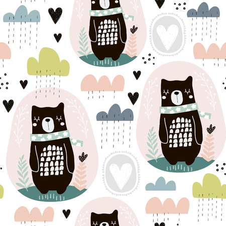 Illustration pour Seamless pattern with bear, floral elements, branches, clouds. Creative Scandinavian style background. Perfect for kids apparel,fabric, textile, nursery decoration,wrapping paper. - image libre de droit