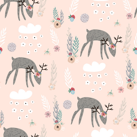 Illustration pour Seamless pattern with deer, floral elements, branches. Creative woodland background. Perfect for kids apparel,fabric, textile, nursery decoration,wrapping paper.Vector Illustration - image libre de droit