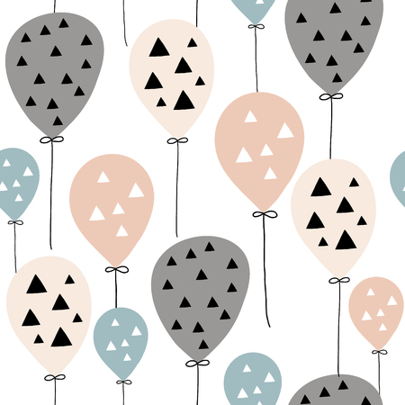 Ilustración de Seamless pattern with balloons in Scandinavian style. Creative vector childish background for kids fabric, textile,wrapping, apparel - Imagen libre de derechos