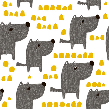 Ilustración de Seamless pattern with hand drawn cute dogs. Creative childish background. Perfect for kids apparel,fabric, textile, nursery decoration,wrapping paper.Vector Illustration - Imagen libre de derechos