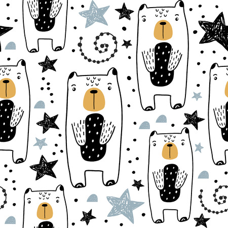 Illustration for Seamless childish pattern with hand drawn cute bears and stars. Creative kids texture for fabric, wrapping, textile, wallpaper, apparel. Vector illustration - Royalty Free Image