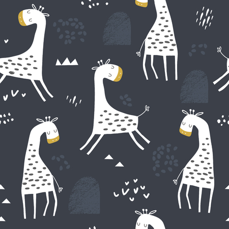 Photo for Seamless childish pattern with cute giraffe and hand drawn shapes. Creative kids texture for fabric, wrapping, textile, wallpaper, apparel. Vector illustration - Royalty Free Image