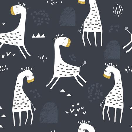 Ilustración de Seamless childish pattern with cute giraffe and hand drawn shapes. Creative kids texture for fabric, wrapping, textile, wallpaper, apparel. Vector illustration - Imagen libre de derechos
