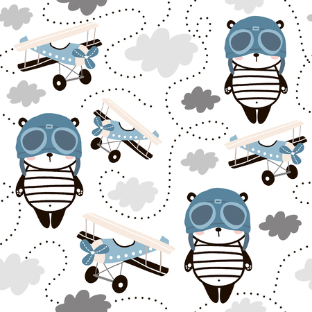 Illustration for Seamless pattern with cute panda in pilot cap and retro air planes. Creative childish texture for fabric, wrapping, textile, wallpaper, apparel. Vector illustration. - Royalty Free Image