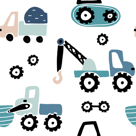 Illustration for Seamless childish pattern with hand drawn cars. Creative kids texture for fabric, wrapping, textile, wallpaper, apparel. Vector illustration - Royalty Free Image